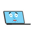 laptop scared omg emoji face avatar computer oh vector image