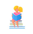 little girl reading book holding textbook flat vector image