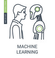 machine learning icon with editable stroke vector image