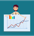 manager standing behind placard with charts vector image