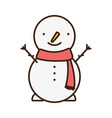 merry christmas celebration snowman with scarf vector image