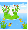 mother duck swims with her four little cute duck vector image vector image