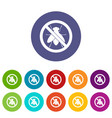 no fly sign set icons vector image vector image