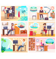 people at work dream about vacation at seaside vector image vector image