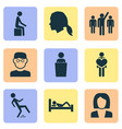 people icons set with speaker human falling vector image vector image