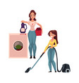 pretty young woman housewife washing and vacuum vector image vector image