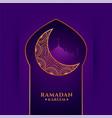 ramadan kareem purple greeting with golden moon vector image vector image