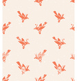seamless pattern linocut style with birds Vintage vector image