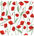 seamless pattern of poppy stems leaves and vector image