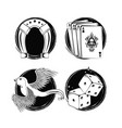set of tattoo drawings in black and white vector image vector image