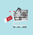 shopping cart with home appliances and electronics vector image vector image