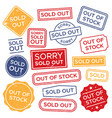 sold out stamps out stock rubber stamp red vector image vector image