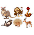 Sticker set with different types of animals vector image vector image