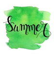 Summer lettering on green watercolor stroke vector image