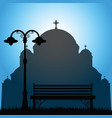 temple of saint sava with bench in park silhouette vector image