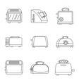 toaster kitchen bread icons set outline style vector image vector image