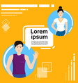 web chat conversation between man and woman vector image vector image