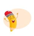 Yellow cartoon pencil celebrating success vector image