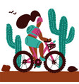 young woman with a backpack and wearing a helmet vector image vector image