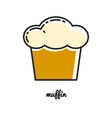 Cake muffin line icon vector image