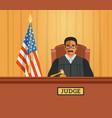 judge black man in courtroom flat vector image