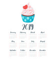 2019 year calendar with cupcake vector image vector image