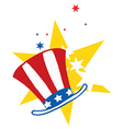 American Hat Over Stars vector image vector image