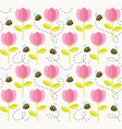 bee and flowers summer pattern seamless floral vector image vector image