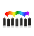 black metallic cans of spray paint in various vector image vector image