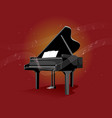 black piano on red background vector image