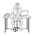 businessman soccer coloring book vector image