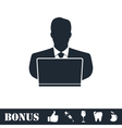 Businessman Working on Computer icon flat vector image vector image