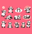 cartoon cute panda little bapandas adorable vector image