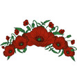 circlet of poppy flowers vector image vector image