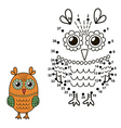 Connect the dots to draw the cute owl vector image