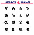 covid19-19 icon set for infographic 16 solid glyph vector image vector image