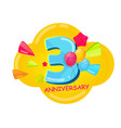 cute cartoon template 3 years anniversary vector image vector image