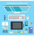Designer workplace top view vector image vector image