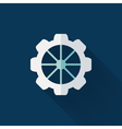 Flat gear wheel icon over blue vector image