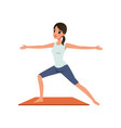 girl standing in hero yoga position vector image vector image