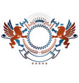 graphic emblem with lion heraldic animal element vector image