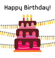 greeting card with sweet cake vector image