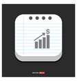 growing graph icon gray icon on notepad style vector image