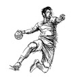 Hand sketch handball players vector image vector image