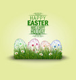 happy easter eggs in the grass vector image