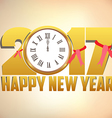 Happy New Year 2017 background with gold clock vector image vector image