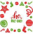 ho ho-ho lettering design with festive new vector image