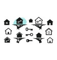 house home set icons building real estate key vector image vector image