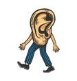 human ear walks on its feet color sketch engraving vector image vector image