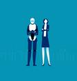 humanoid robot and businessman futuristic cartoon vector image